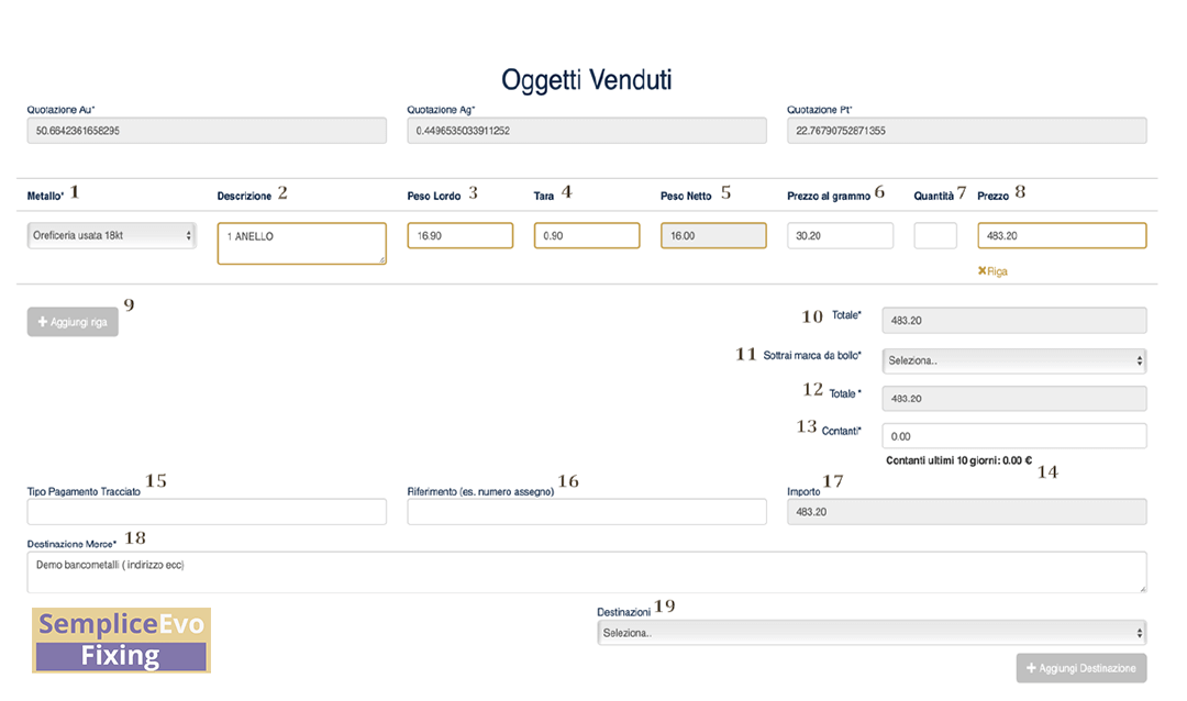 Schermata software gestionale compro oro - venezia preziosi