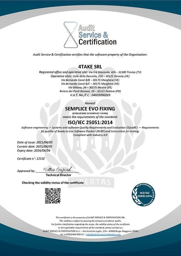Certificato Iso 25051 EN Semplice Evo Fixing
